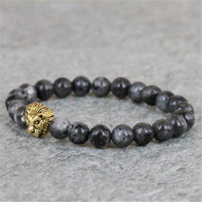 Bracelet perle en labradorite naturelle et tête de lion