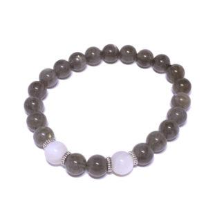 Bracelet en pierre naturelle citrine et quartz