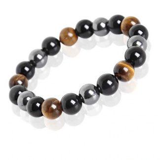Bracelet oeil de tigre, hématite et obsidienne noire
