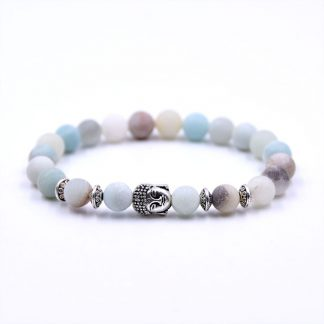 Bracelet en perle d'amazonite naturelle Bouddha