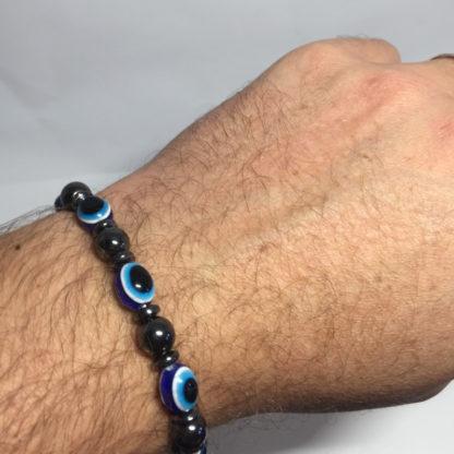 Bracelet en pierre naturelle hématite noir et bleu