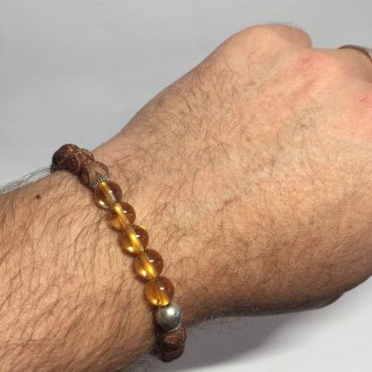 Bracelet perle en pierre naturelle citrine et agate