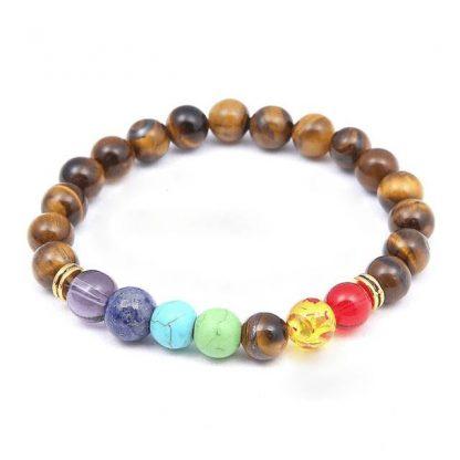 Bracelet d'harmonisation des 7 chakras et pierre œil de tigre