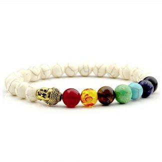 Bracelet d'harmonisation des 7 chakras bouddha et howlite blanche