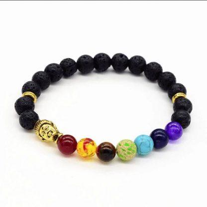 Bracelet d'harmonisation 7 chakras bouddha et pierre de lave