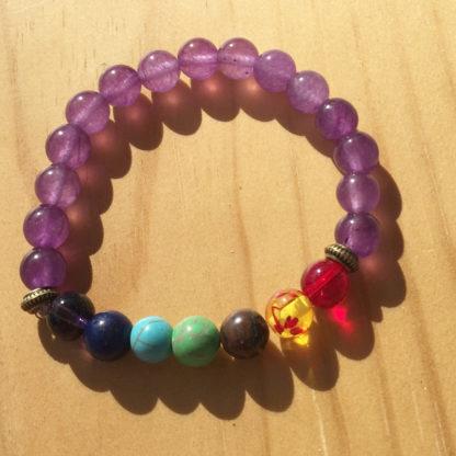 Bracelet d'harmonisation 7 chakras et quartz violet