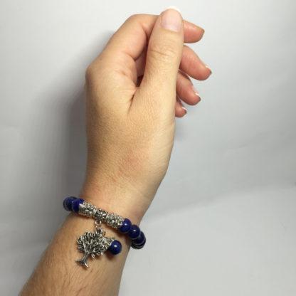 Bracelet en lapis lazuli pendentif arbre de vie