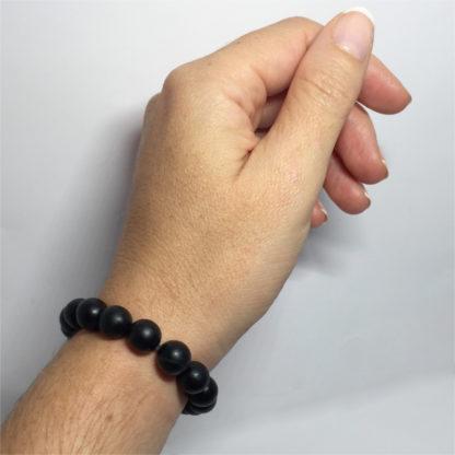 Bracelet en perles de pierre naturelle obsidienne