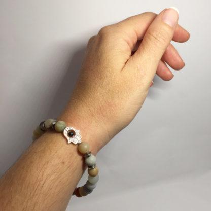 Bracelet en perle d'amazonite givrée naturelle main de Fatma