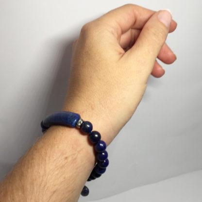 Bracelet en pierre naturelle lapis lazuli avec coeur