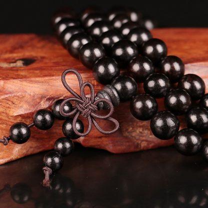 Bracelet mala tibétain en perles de bois d'ébène