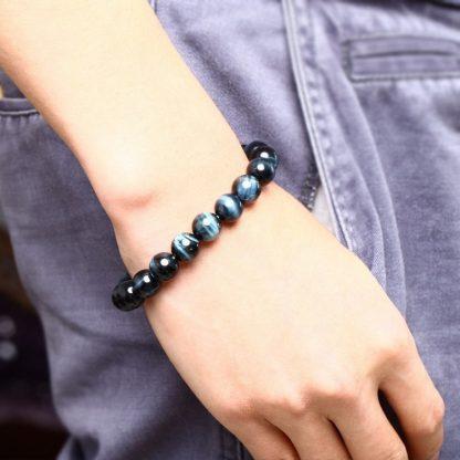 Bracelet de protection œil de tigre bleu