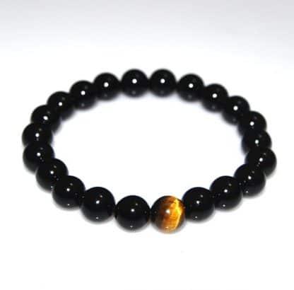 Bracelet d'équilibre en onyx et oeil de tigre