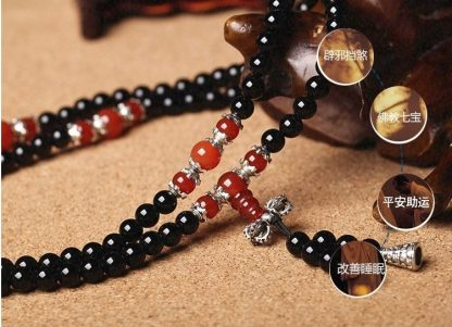 Bracelet mala méditation oeil de tigre et obsidienne