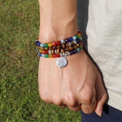 Bracelet mala 7 Chakra et œil de tigre