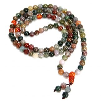 Bracelet mala tibétain 108 perles en pierre d'agate
