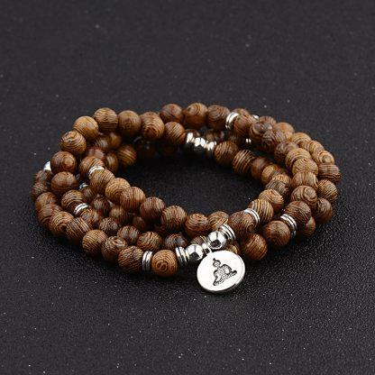 Bracelet mala tibétain 108 perles en bois Om Lotus Bouddha