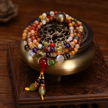 Bracelet mala tibétain 108 perles en quartz