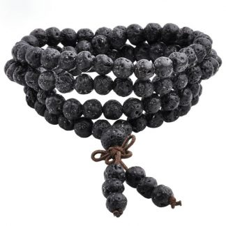 Bracelet mala tibétain 108 perles pierre de lave - 6MM
