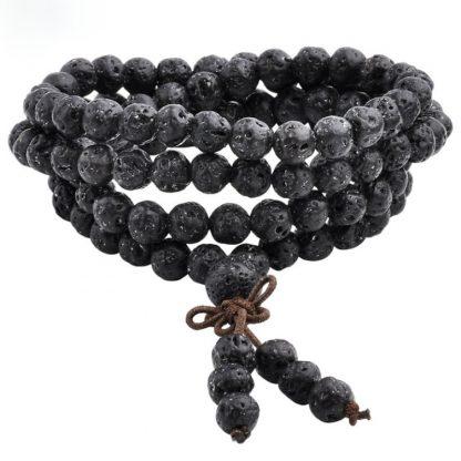 Bracelet mala tibétain 108 perles pierre de lave