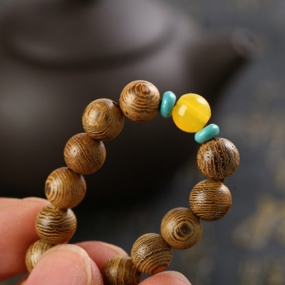 Bracelet tibétain mala 108 perles de bois wengé