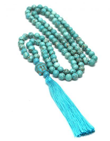 Bracelet mala 108 perles tête de bouddha turquoise