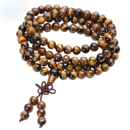 Bracelet mala 108 perles oeil de tigre protection