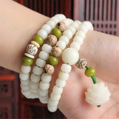Bracelet méditation mala 108 perles de racine de Bodhi blanc naturel