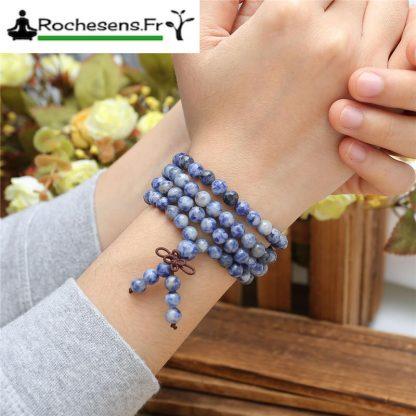 Bracelet mala 108 perles en sodalite