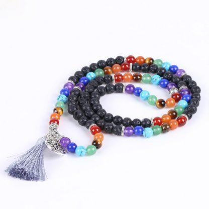 Bracelet mala 7 chakras et pierre de lave