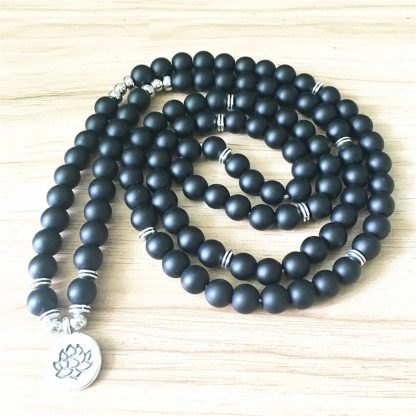 Bracelet mala 108 perles en onyx