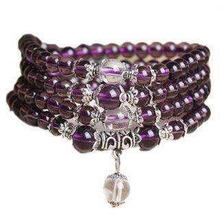 Bracelet mala 108 perles d'améthyste violet
