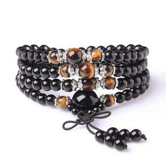 Bracelet mala tibétain en œil de tigre noir et obsidienne noire