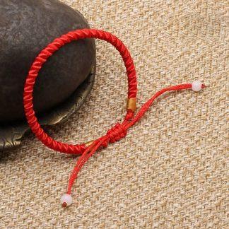 Bracelet positivité porte-bonheur en corde tressée rouge