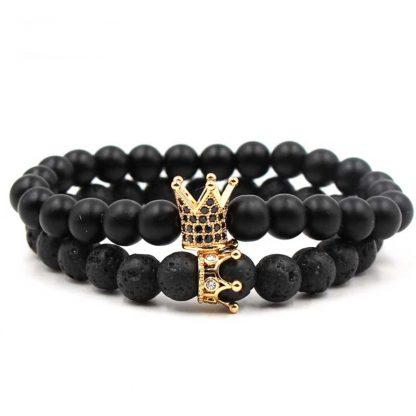 Bracelet couple couronne reine et roi howlite, pierre de lave