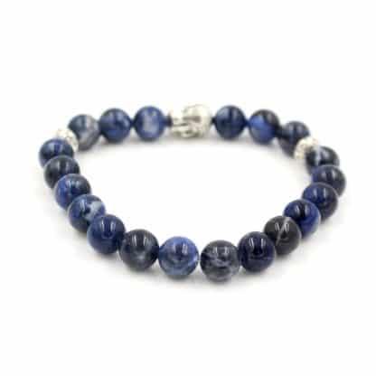Bracelet en perles de sodalite tête de bouddha
