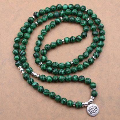 Bracelet mala 108 perles malachite avec pendentif Yoga Lotus
