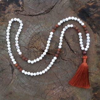 Bracelet mala 108 perles howlite et onyx