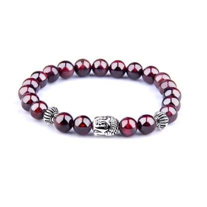 bracelet perle grenat bouddha