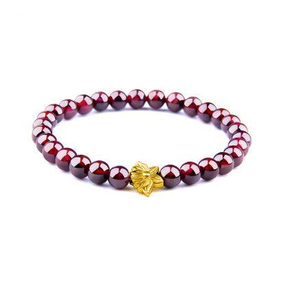 bracelet perle grenat fleur or