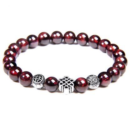 bracelet perle grenat noeud infini