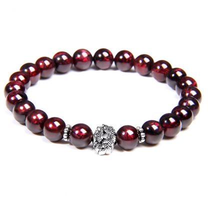 bracelet perle grenat pendentif rose
