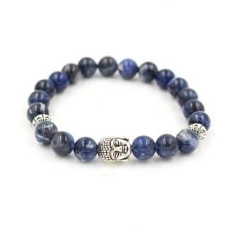 bracelet sodalite tête de bouddha