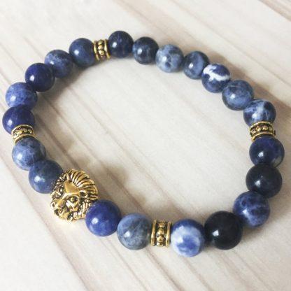 Bracelet sodalite tête de lion