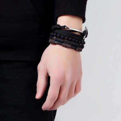 Bracelet viking onyx et cuir