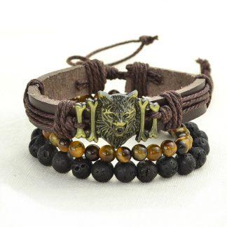 Bracelet en cuir loup - oeil de tigre et pierre de lave