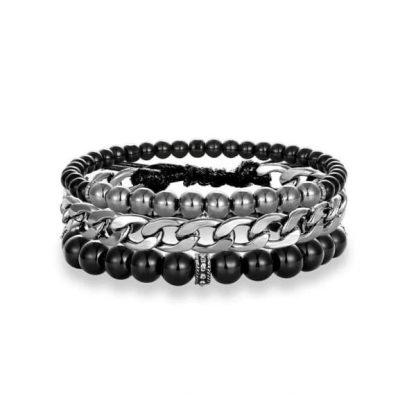 Bracelet 3 parties cuir, métal et onyx