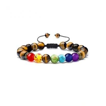 bracelet chakra oeil de tigre reglablebracelet chakra oeil de tigre reglable