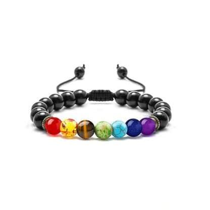 bracelet 7 chakra pierre de lave