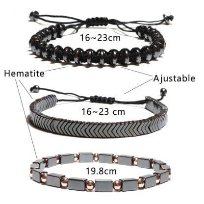 Bracelet shamballa hématite en 3 parties